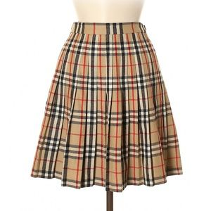 Burberry Vintage Pleated Nova Check Skirt